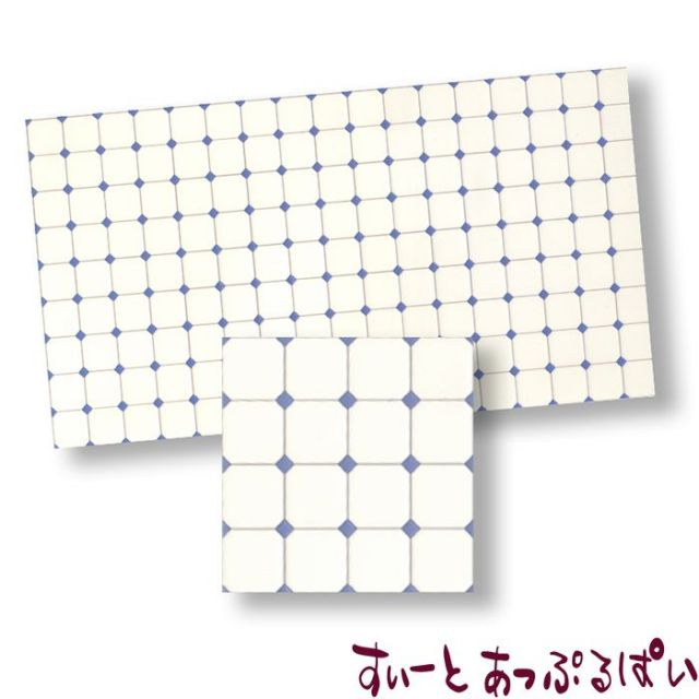 【スペイン製】 ドールハウス用タイルシート ブルーグレイダイヤxホワイト 275x163 mm WM34365