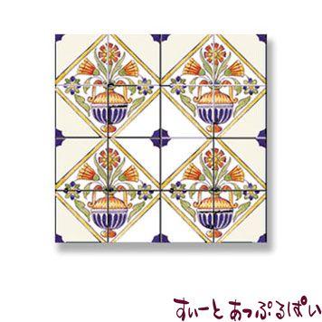 【スペイン製】 ドールハウス用 アクセントタイルシート 4つのお花 53x53mm WM34879