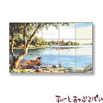【スペイン製】 ドールハウス用 アクセントタイルシート 岸辺の風景 66x40mm WM34885