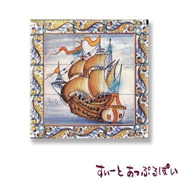【スペイン製】 ドールハウス用 アクセントタイルシート 古代船 64x64mm WM34891