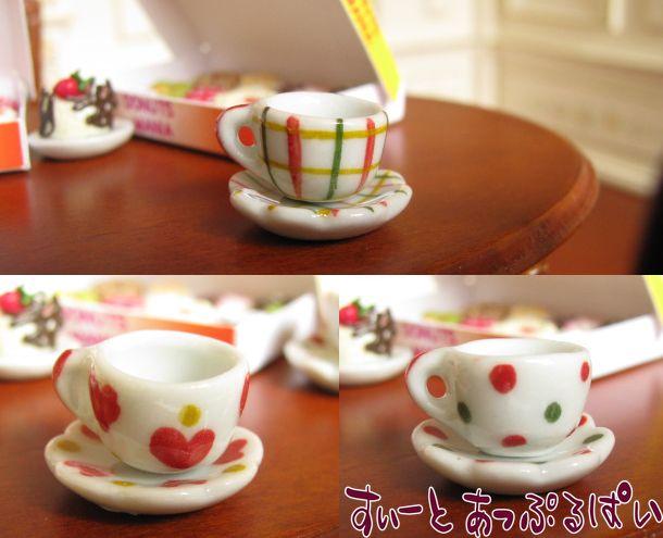 ハンドメイド陶器のカップ&ソーサー☆チェック SMXTC-CUP-RCK