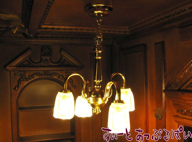 【3V電池式LED照明】 カフェ風アンティークシャンデリア 4灯 HKL-CL-227