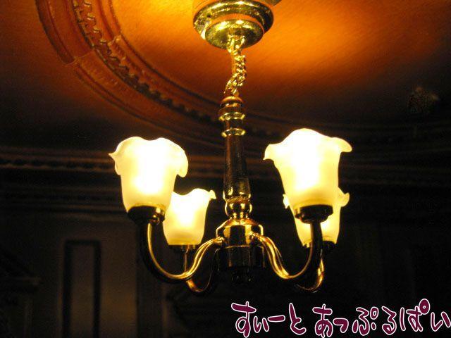 【3V電池式LED照明】 シャンデリア ゆり4灯 アップアーム HKL-CL-308
