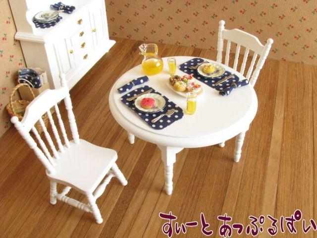 ミニチュアダイニングテーブルセット 円卓+椅子2脚 ピュアホワイト MTCG182-3H
