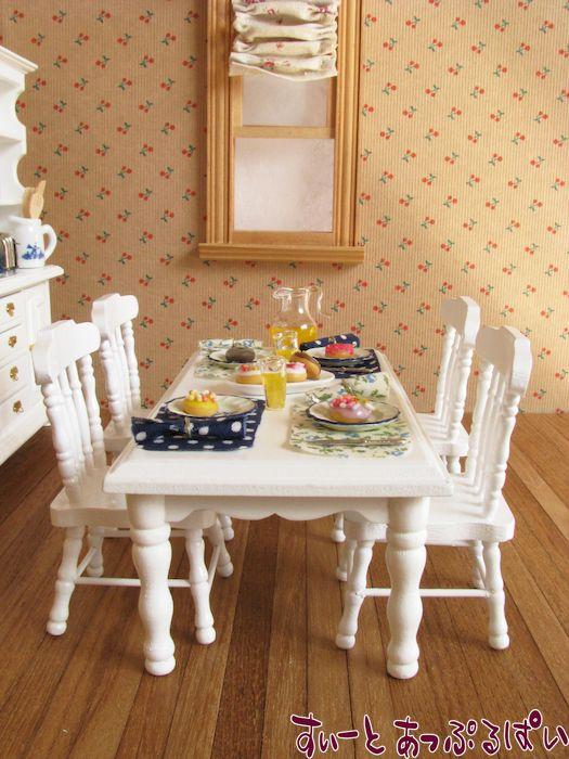 ミニチュアダイニングテーブルセット 長方形卓+椅子4脚 ピュアホワイト MTCG208-7H