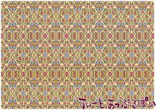 【1/12サイズ】【スペイン製】 ドールハウス用壁紙 ウィリアムモリス 432 x 260ミリ WM35702