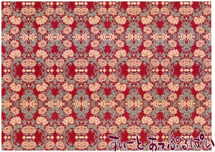 【1/12サイズ】【スペイン製】 ドールハウス用壁紙 ウィリアムモリス 432 x 260ミリ WM35700