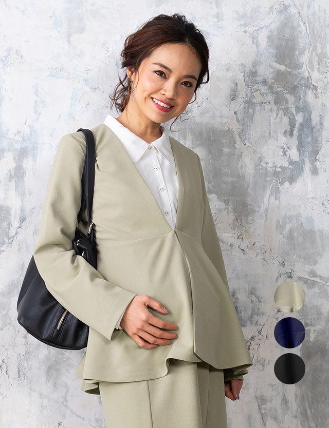 ノーカラーペプラムジャケット 授乳服マタニティウェア