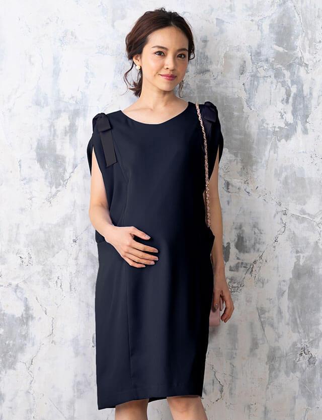 【SALE5月9日まで】スリットスリーブIラインワンピース 授乳服マタニティウェア