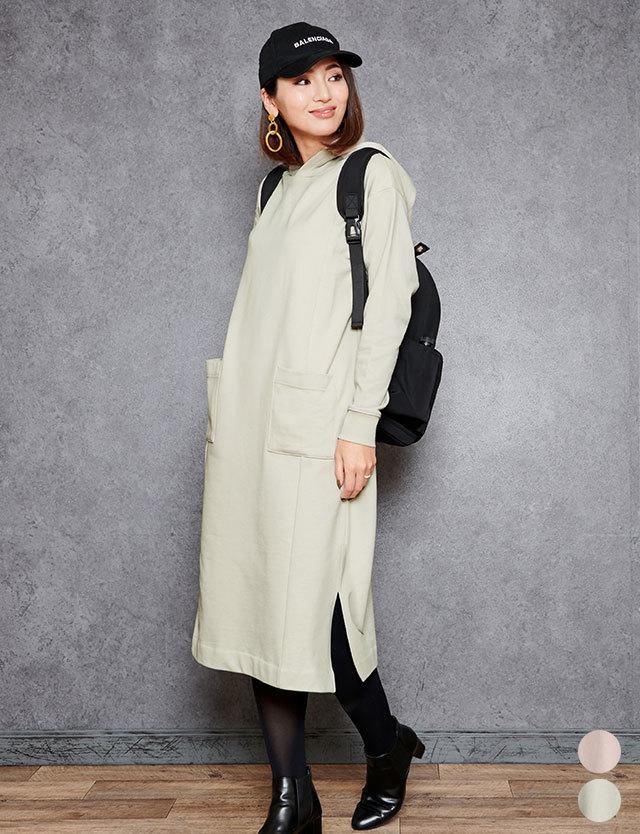 【セール4月2日まで】フーディーパーカー ロングワンピ 授乳服 マタニティウェア