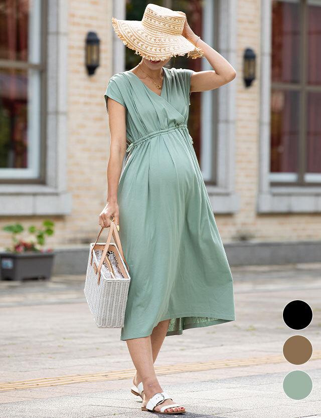 【2020年夏の新作】カシュクールきれいめワンピース 授乳服マタニティウェア 産前産後兼用