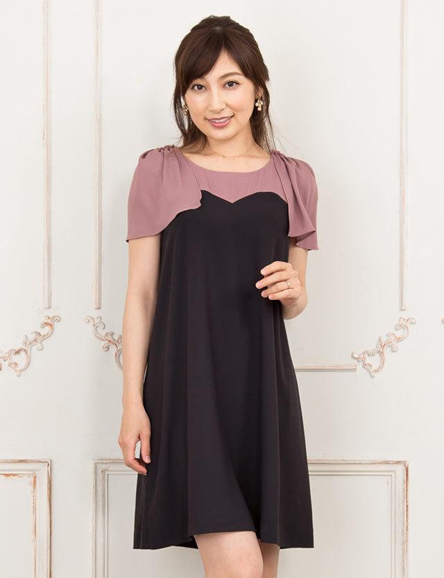 【開店記念SALE~8/24】ギャザーフリルスリーブワンピース bo7006 授乳服マタニティウェア