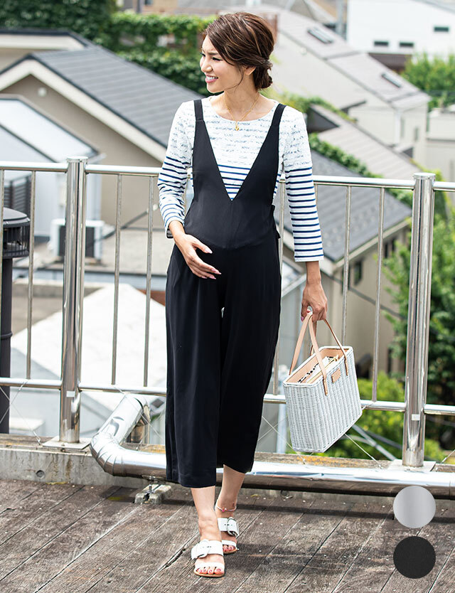 【SALE11月1日まで】産前産後兼用 Vネックサロペット 授乳服マタニティウェア マタニティボトム