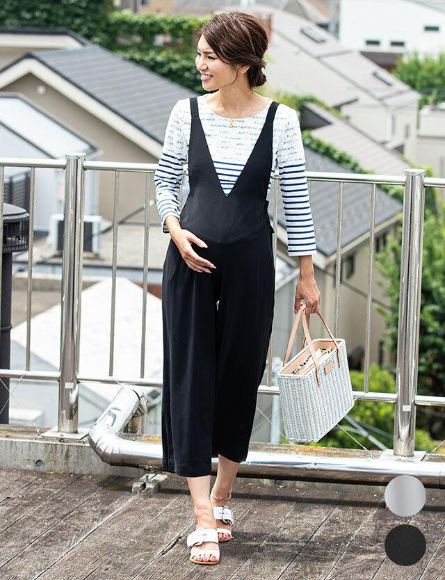 【会員限定販売】産前産後兼用 Vネックサロペット 授乳服マタニティウェア マタニティボトム