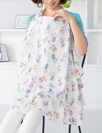 サテンツイル 和柄プリント 授乳ケープ 巾着ポーチ付き