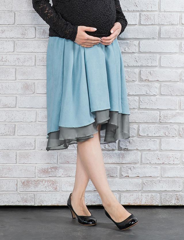 【SALE3月22日まで】2WAY リバーシブルテールカットスカート マタニティボトム
