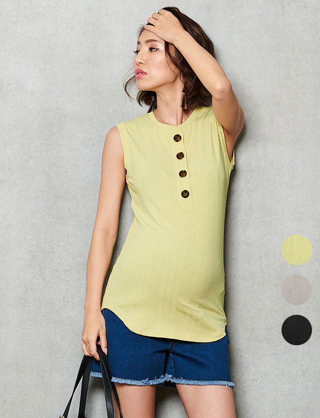 【セール7月16日まで】授乳服マタニティ服 ヘンリーネックリブニットタンクトップ 産前産後