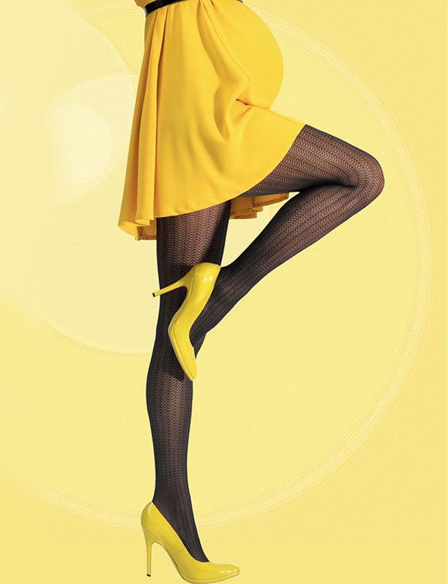 フランスインポート マタニティストッキング ジグザグ柄 すっきり美脚 30デニール 【カシュクール】ランジェリー ストッキング cm404