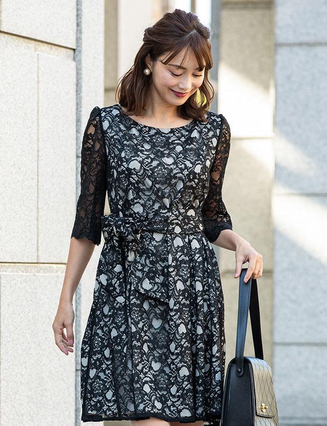 日本製 授乳服マタニティウェア 総レースドレス