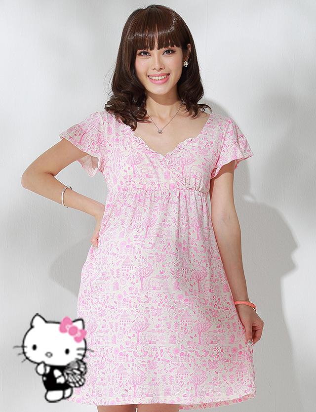 【SALE5月9日まで】HELLO KITTY×DESIGNERS GUILD×SWEETMOMMYコラボ 日本製 キティちゃんプリント オーガニックコットン100% 産前産後OK ママの授乳ワンピース
