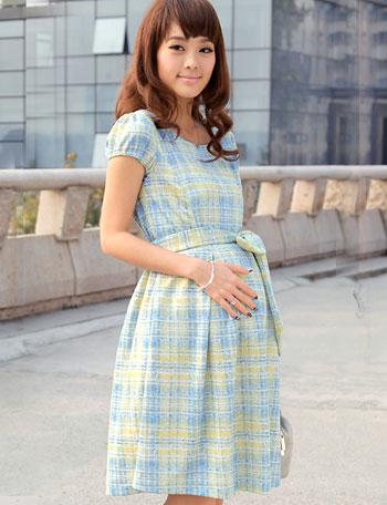 【クリアランス】授乳服マタニティウェア 日本製ドレス 手書き風チェックプリント 授乳ワンピース