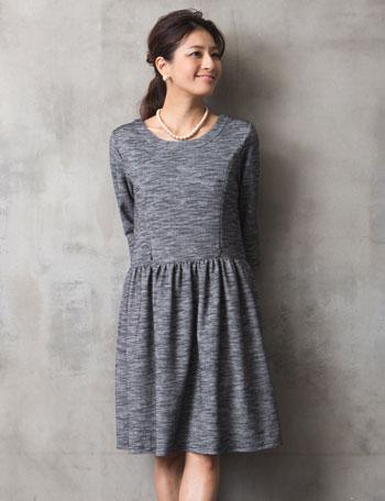【クリアランスセール】授乳服マタニティウェアフォーマル ツイード風ニット 授乳ワンピース ko4110