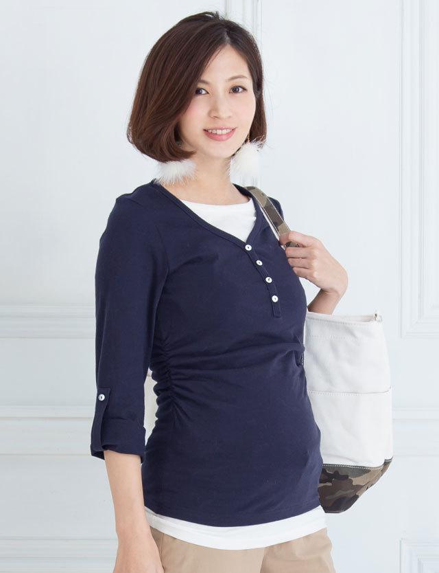 【クリアランス】オーガニックコットン100% ヘンリーネックギャザー Tシャツ kt6078 授乳服/マタニティウェア