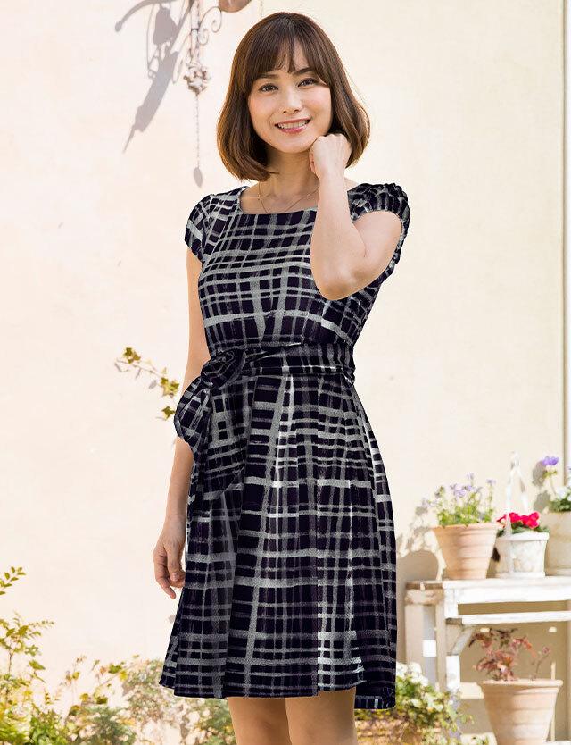 【SALE3月1日まで】授乳服マタニティウェア 日本製 ちりめん素材 チェック柄 プリント 授乳ワンピース