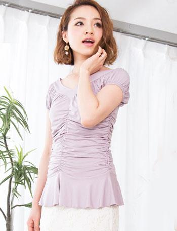 授乳服 たっぷりギャザ授乳トップス ma8069 半袖