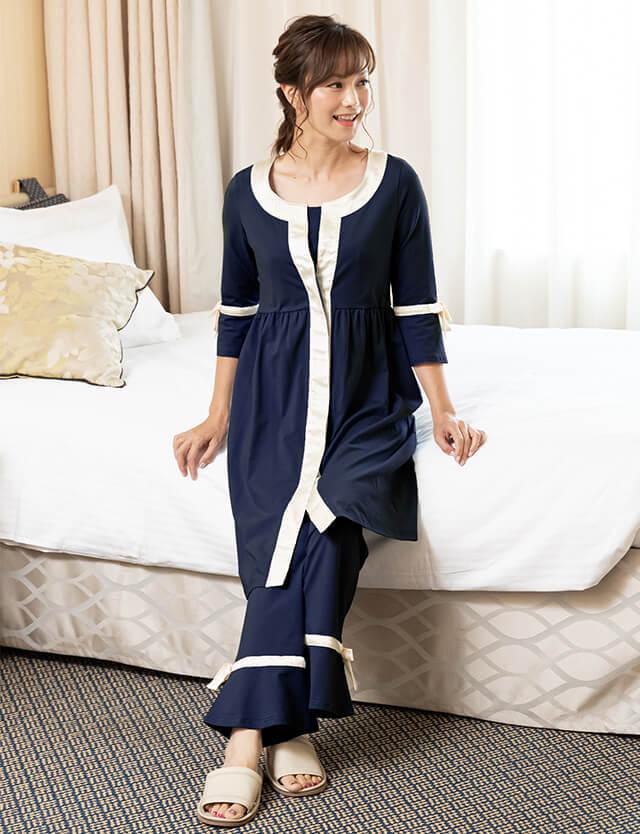 【セール11月14日まで】マタニティ授乳服 サテンパイピングナイティ 前開きパジャマ/産前産後兼用