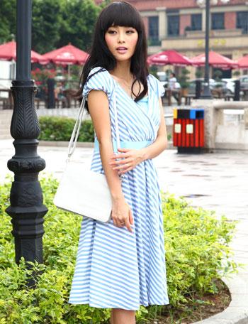 【クリアランスセール】授乳服マタニティウェア ふんわりボーダーワンピース ma9106 半袖/マタニティウェア