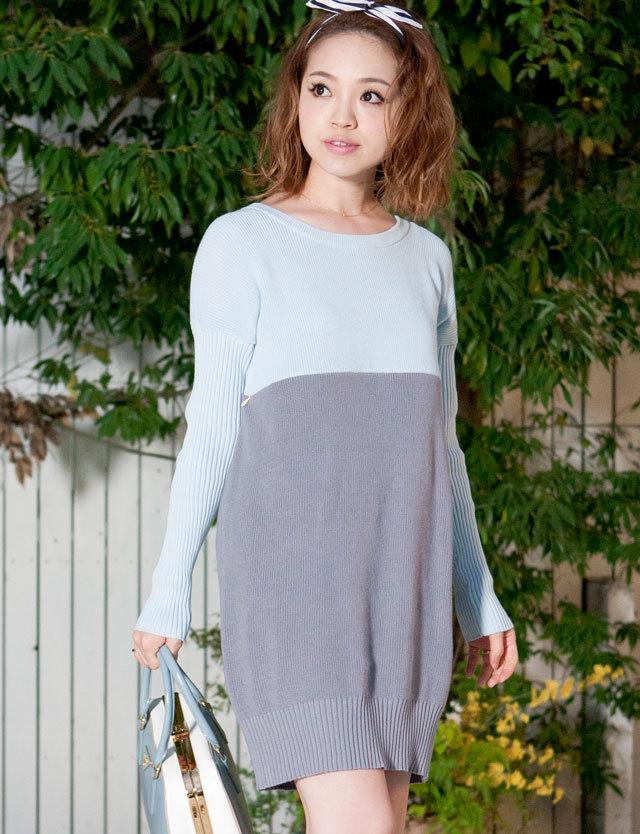 授乳服マタニティウェア オーガニックコットン 100%ニット 配色コクーン ニットチュニック