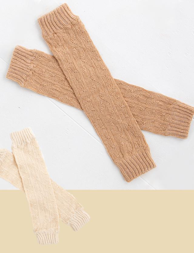 pompkins BABY オーガニックコットン 縄編みローゲージ ベビーレッグウォーマー(0~4歳頃) 【日本製】