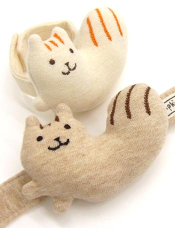 【日本製】オーガニックコットン リストガラガラ りす POMPKINS  出産祝い