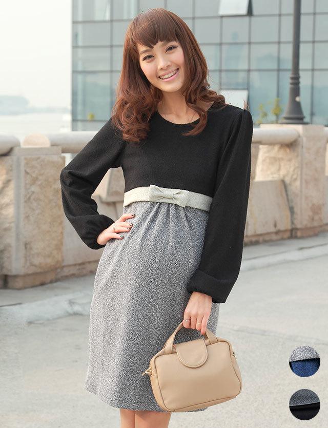 授乳服マタニティウェアフォーマル ツイード風カット素材 3カラー配色切り替え授乳ワンピース