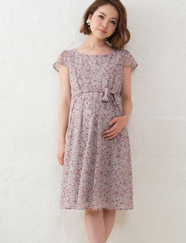 授乳服マタニティウェア ストンと1枚で大人可愛い 小花柄プリントシフォン授乳ワンピース q-ko5075