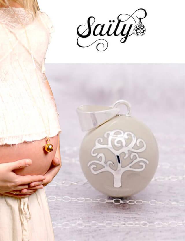 妊婦さんへのプレゼントに!マタニティ ロング ネックレス ツリーデザイン グレージュ