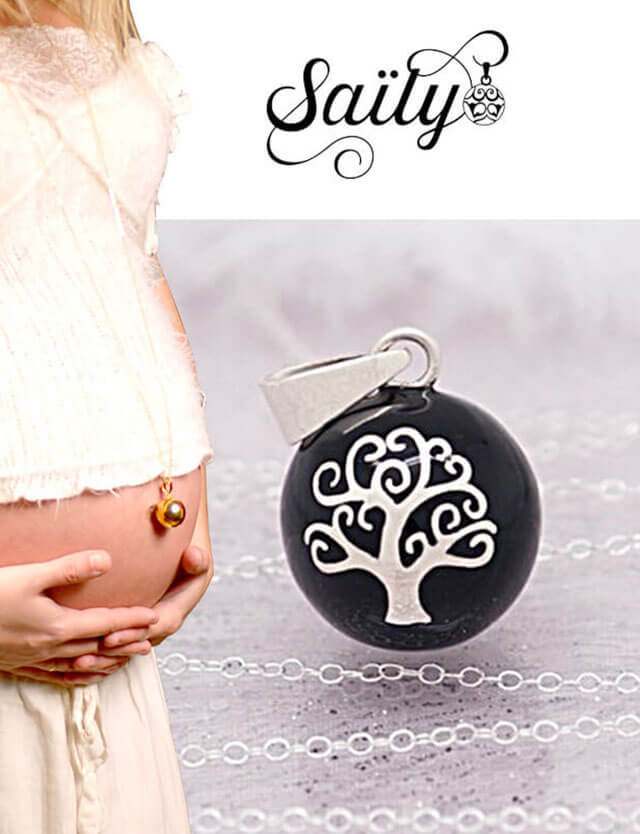 妊婦さんへのプレゼントに!マタニティ ロング ネックレス ツリーデザイン ブラック