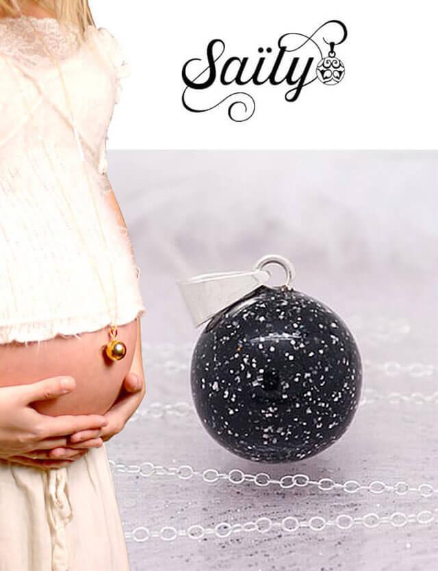 妊婦さんへのプレゼントに!マタニティ ロング ネックレス パイエット ブラック