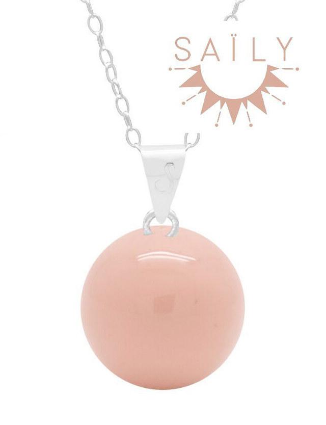 妊婦さんへのプレゼントに!マタニティ ロング ネックレス ライトピンク