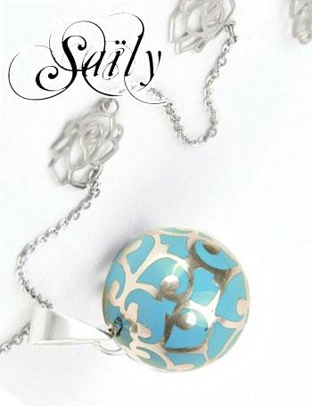 Saily ボラス メロディボール ネックレス グラムール ターコイズ×シルバー sa1100c12b6 妊婦さんへのプレゼントに!胎教にもよい美しい鈴音