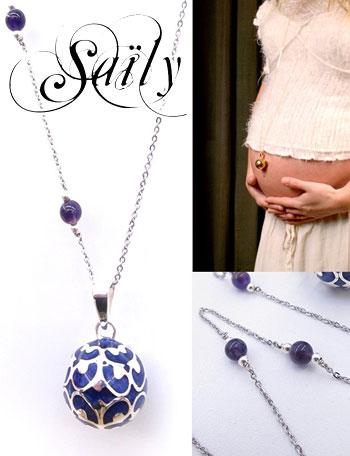 Saily ボラスメロディボールネックレス グラムール バイオレット×シルバー sa1100dxb4 おなかの中の赤ちゃんに、涼やかな音を届ける