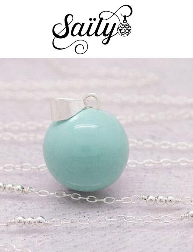 妊婦さんへのプレゼントに!マタニティ ロング ネックレス プレーンミント/ボールチェーン