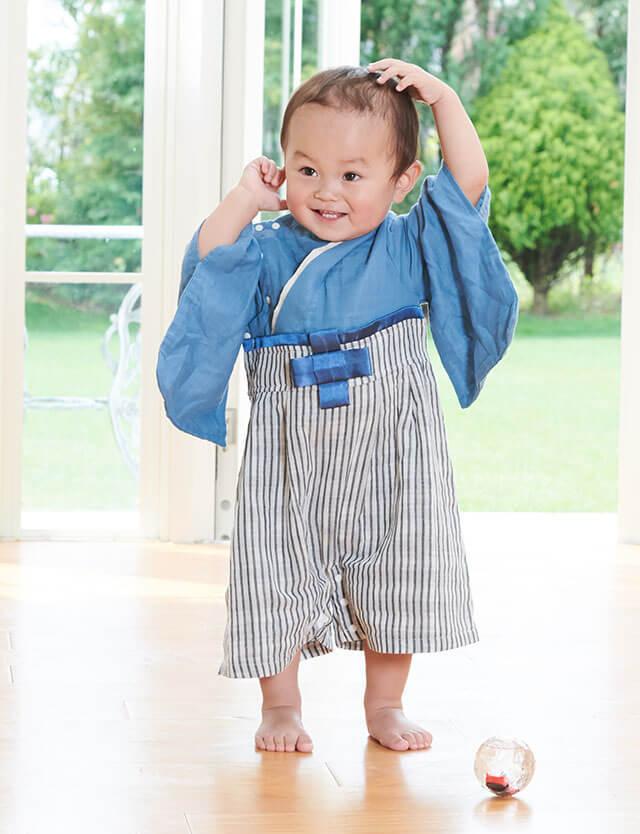 【入荷連絡受付中!】ベビー服 和柄 袴風カバーオール ガーゼ素材和柄ベビー袴