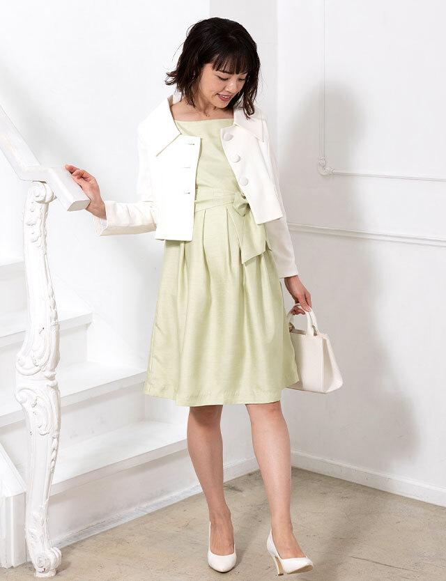 授乳服マタニティウェア 日本製 授乳ワンピース&広襟ショートジャケットセット