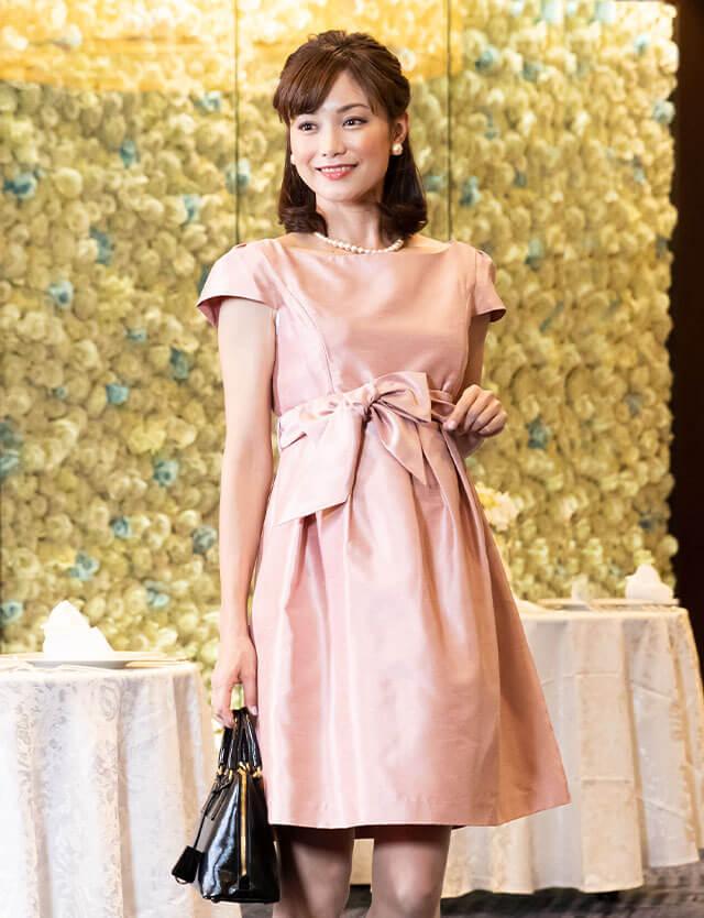 日本製 授乳服マタニティウェア シャンブレーシャンタン キャップスリーブ 授乳ワンピース
