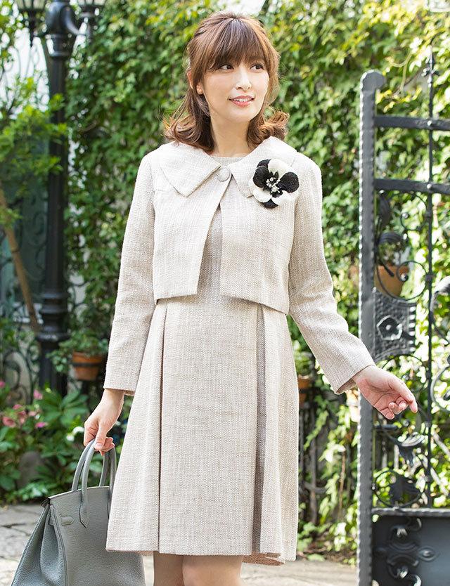 授乳服マタニティウェア ほんのりラメ混ツイードアンサンブル 広襟ボレロジャケット&ワンピセット