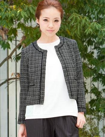 【サンキューセール】ノーカラー ココツイードジャケット 9分袖