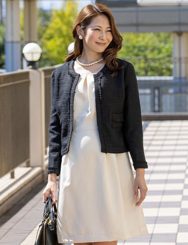 【特別セット価格50%OFF!】授乳服マタニティウェア 着回しセットアップ ココツイードジャケット&日本製 グログランワンピセット