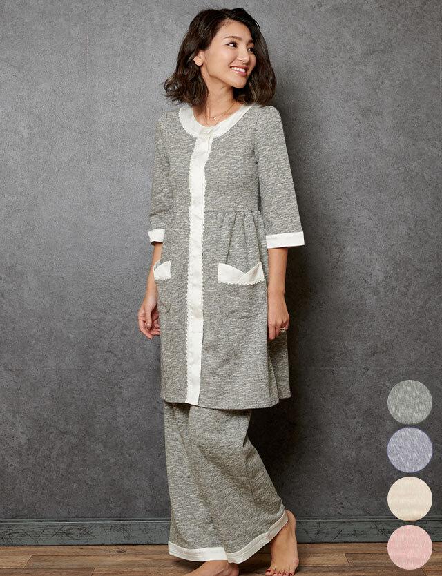 【送料無料】マタニティウェア授乳服 上質なコットン100%メランジスウェット 配色ナイティ 3点セット パジャマ